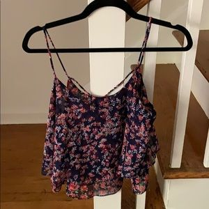 Express Strappy Back Blue Floral Crop Top-MEDIUM